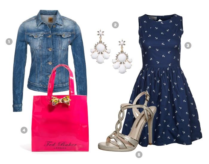 jeansjacke-kombinieren-blaues-sommerkleid-pinke-tasche